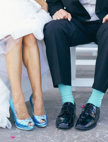 Cute. Shades of blue wedding shoes and groom's socks. | Taylor Rae Photography, Charleston, SC