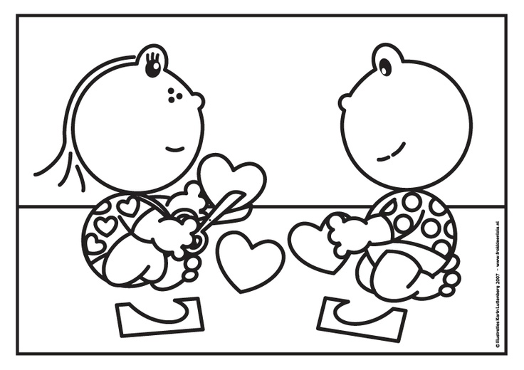 Kleurplaat Frokkie & Lola valentijn