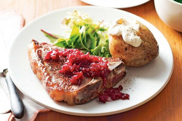 Barbecued T-bone steaks with jacket potatoes main image