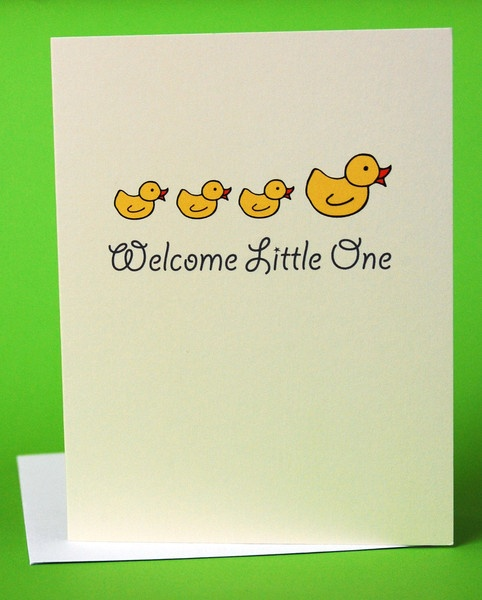 Welcome Baby Ducks card for baby boy or girl