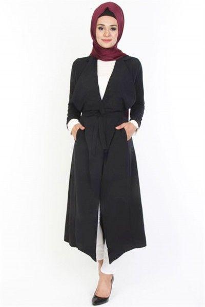 Ceket Geniş Yaka Cepli Kuşakli Yelek Siyah