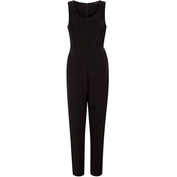 Black D-Ring Side Cropped Jumpsuit ($36) ❤ liked on Polyvore