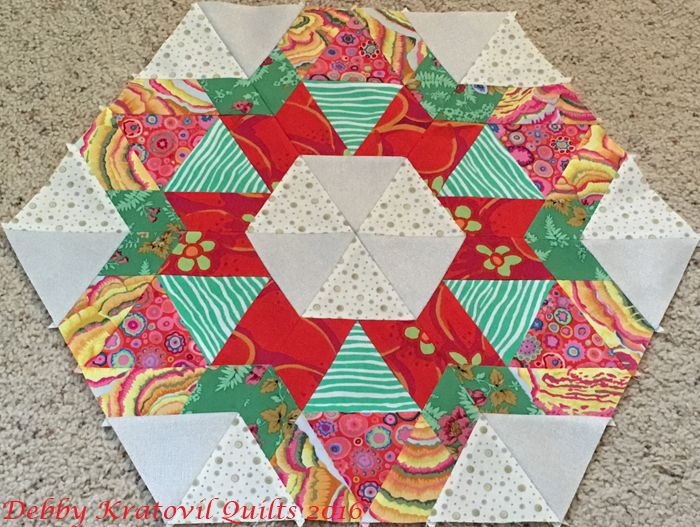 6 blocks from The New Hexagon Perpetual Calendar. January 13 times 6 equals a ring of hexagons and triangles. This is the first of 12 units in the Perpetually Hexie Quilt Along on Facebook.