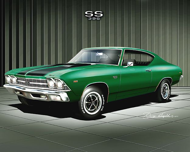 1969 Chevelle SS 396 in emerald green.