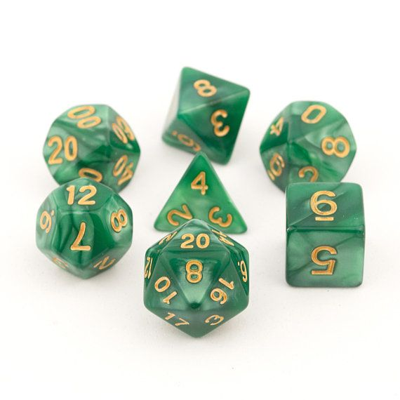 7 Piece Polyhedral Green Marbled Dice Set Game RPG D/&D