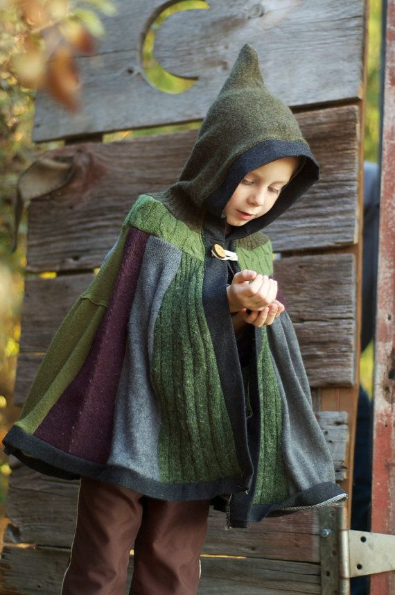 Woodland Cape - Upcycled Sweaters - Tree Branch Button Closure - Size 6 to 10 years