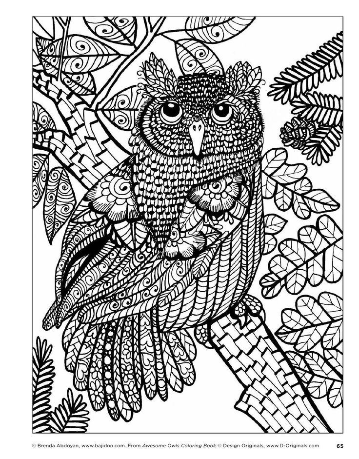 stress relieving coloring pages owls - photo#20
