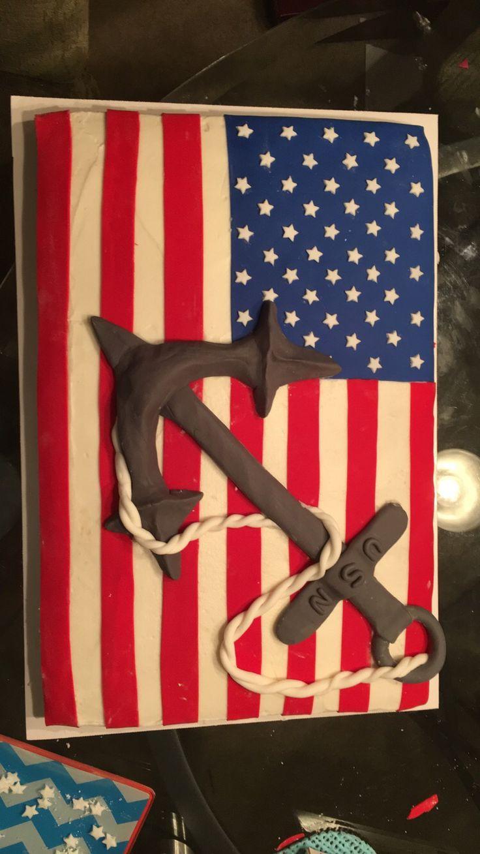 My attempt at a US Navy birthday cake #usnavy #navy #cake #navycake