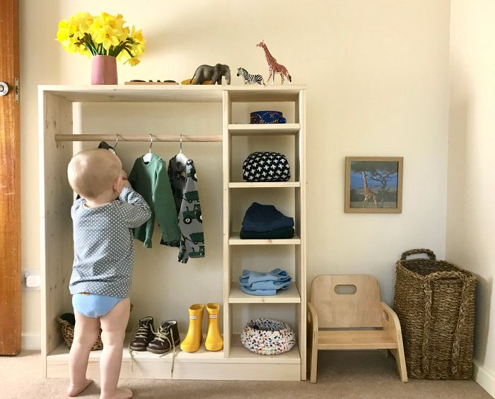 How we Montessori toddler wardrobe dressing space …
