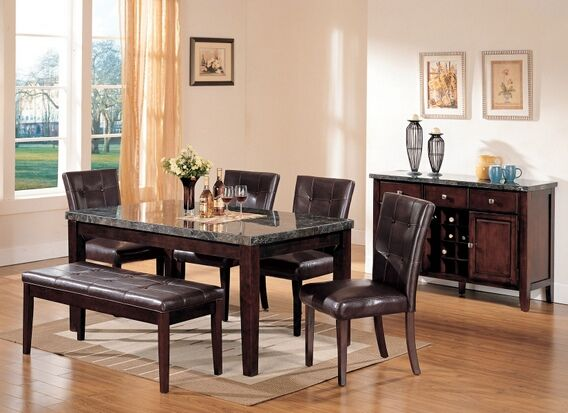 6 pc Danville collection black marble top dining table set with brown  bycast vinyl upholstered side