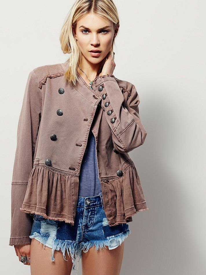 at free people Flared Hem Military Jacket - fawn