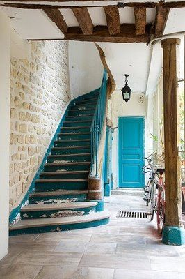 Great staircase w beams and brick!Expo Beams, Blue Doors, Painting Stairs, Stones Wall, Colors, Turquoise Doors, House, Staircas, Expo Bricks