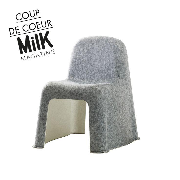 sélection #Milk Le duo danois Komplot est le premier à concevoir une chaise produite industriellement 100% en matière textile. La chaise #Nobody est fabriquée uniquement en feutre PET moulé en une seule pièce par thermoformage. #hay #kids #inspiration