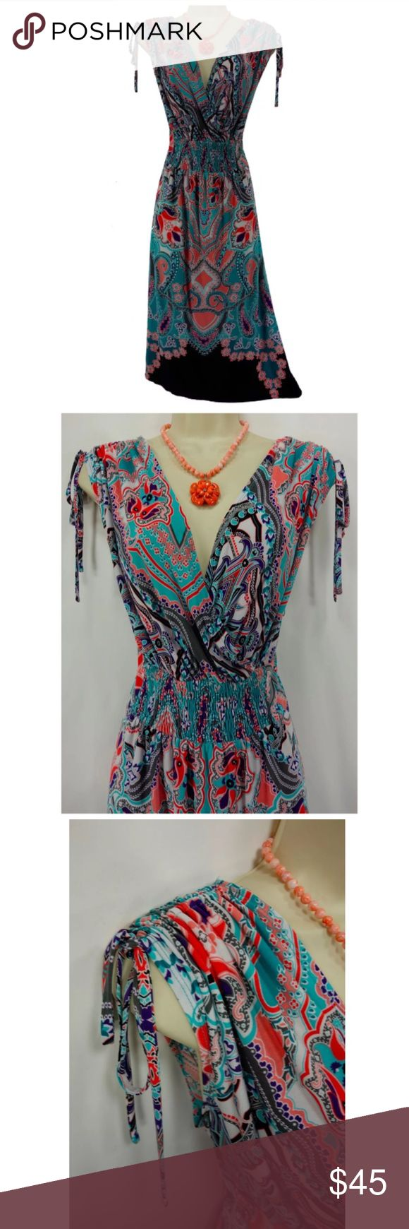 """Size 18W 2X PAISLEY PRINT SUMMER DRESS Plus Size We LOVE this sexy, sweet summer dress!   Size: 18W Back zip Surplice neckline in front/ V in back Smocked waist Gorgeous paisley print in shades of coral & turquoise Shoulder straps cinch & tie Stretchy, comfortable fabric Measurements: Bust (armpit to armpit):  46"""" relaxed - stretches to 56"""" Waist: 41"""" relaxed - stretches to 48"""" Hips:  55"""" relaxed Length: 42.5"""" (top of shoulder to bottom hem)  Condition: PRISTINE CONDITION! Fabric Content…"""