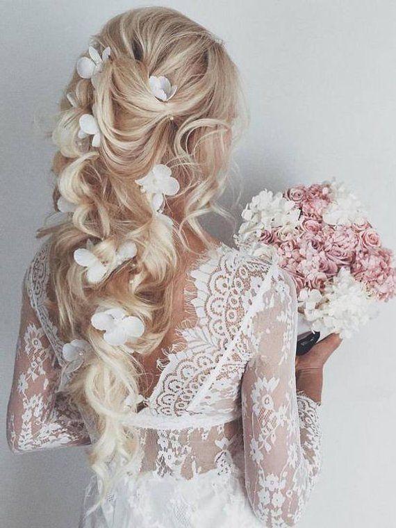 Bridal Flower Long Hair Vine Flower Hair Piece Wreath Bridal White Flower Crown Pearl Hair Vine Wedding Flower Hair Jewelry Silver Hair Vine