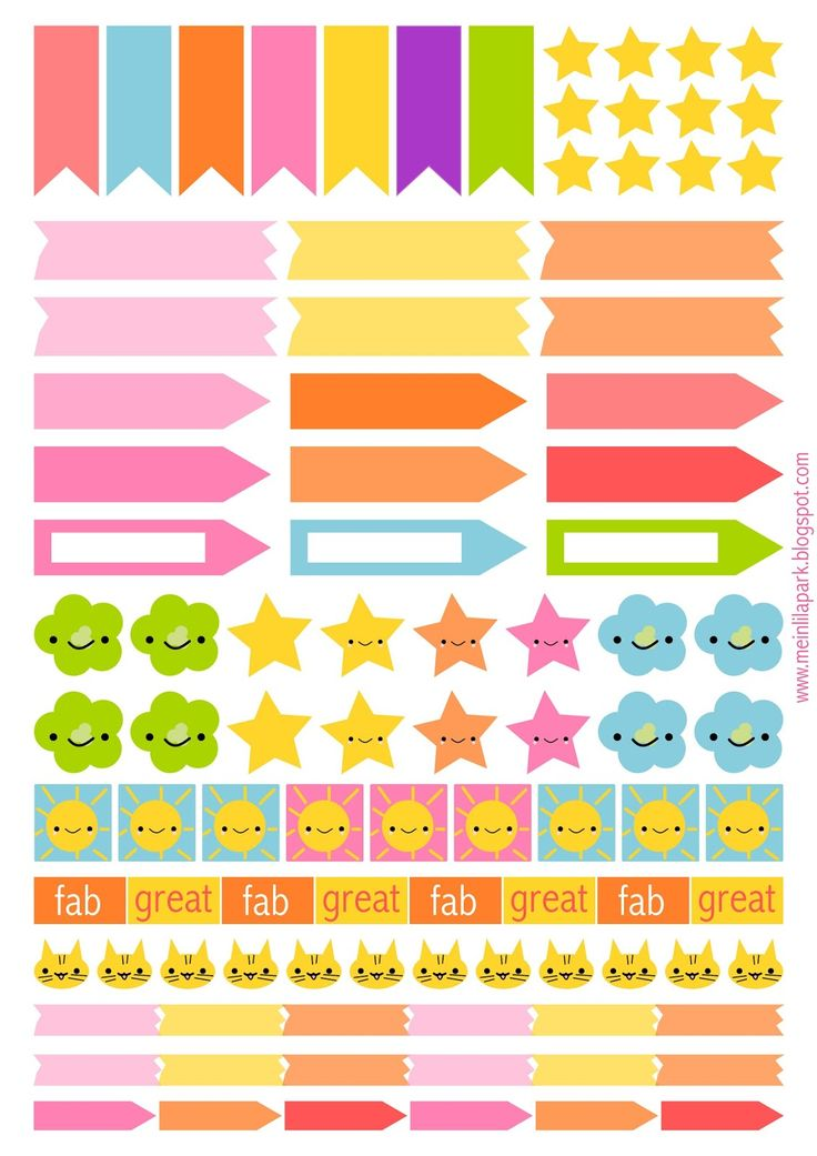 Free Printable Page Flags and Planner Stickers from MeinLilaPark