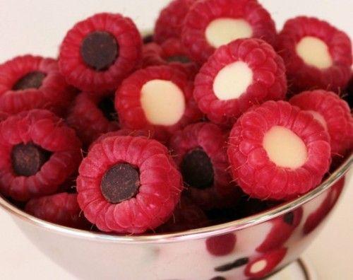 chocolate chips inside raspberries, so simple