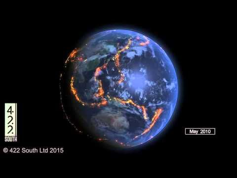 This stunning visualization shows major earthquakes globally from the last 15 years