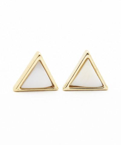 Triangular Shell Stud Earrings. $ 20.00
