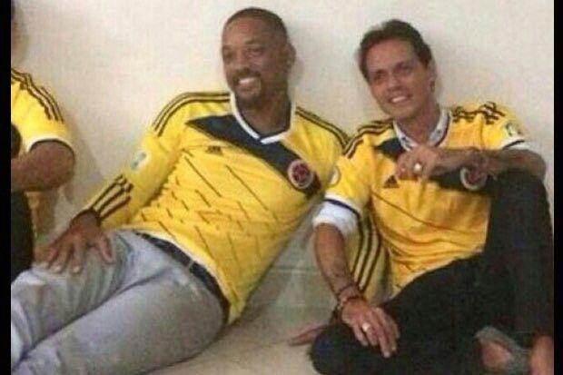 Will Smith y Marc Antoni apoyando a la selección colombia!