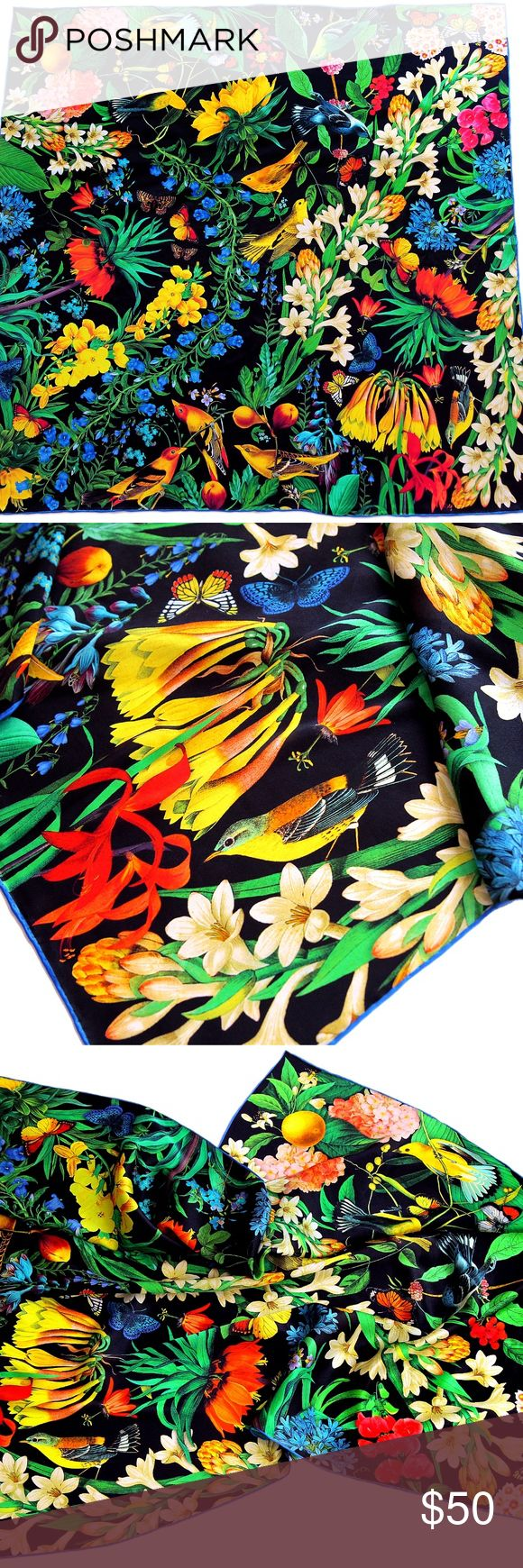 """100% silk square scarf """"Garden of Eden"""" black """"Garden of Eden"""" 36x36"""" (90cm) 100% silk square scarf, hand-rolled edges. Luscious exotic flowers and flower garlands,  birds and tropical fruit.   Dry clean or hand wash cold. Heartbreak Salon Accessories Scarves & Wraps"""