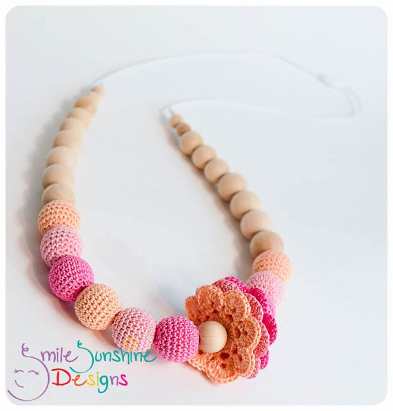 Crochet Bead and Wood Teething Necklace or Nursing Necklace - Soft, Snuggly and Chewable
