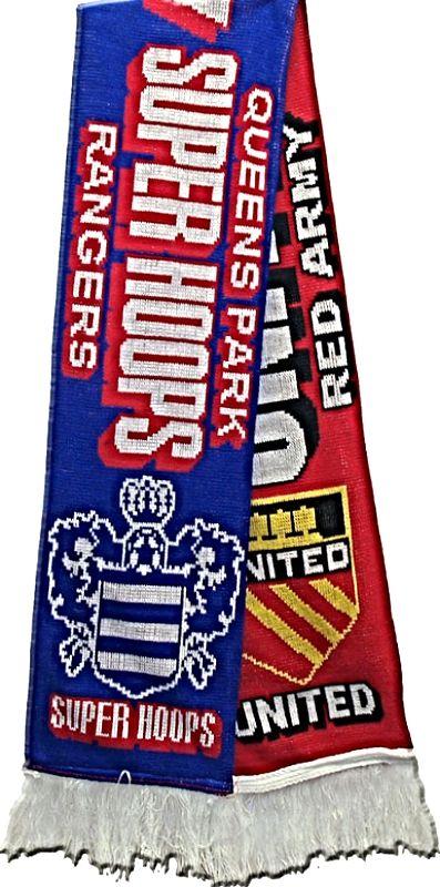 United v QPR Super Hoops Half Half Friendship Knitted Scarf
