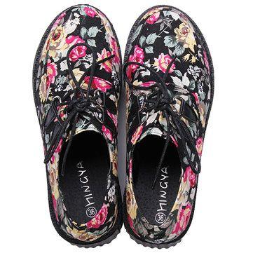 Harajuku Style Bohemia Print Shivering Platform Women's Casual Shoes - US$38.81