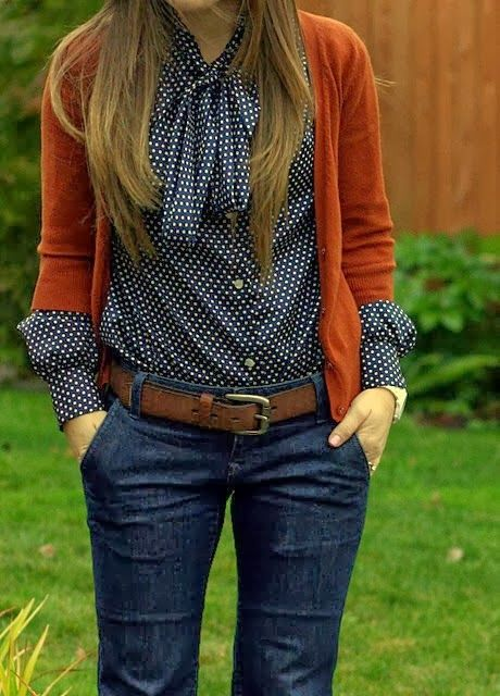 Polka Dots Shirt With Dark Orange Sweater