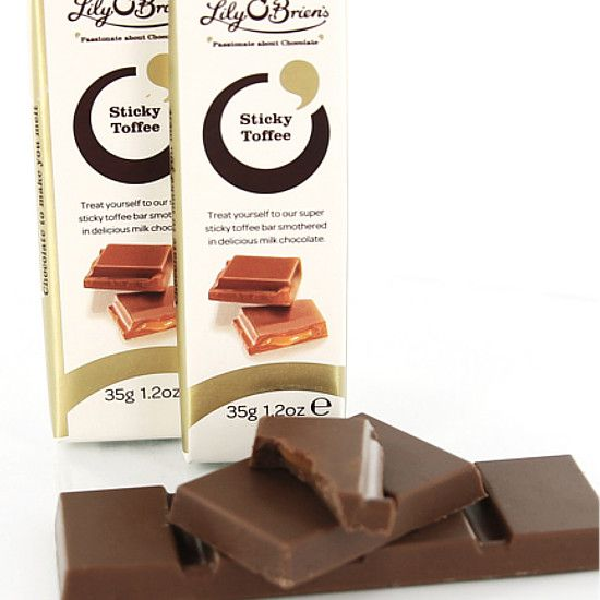 Milk Chocolate Sticky Toffee Bar, Box of 12 (35g) available at LilyOBriens.ie