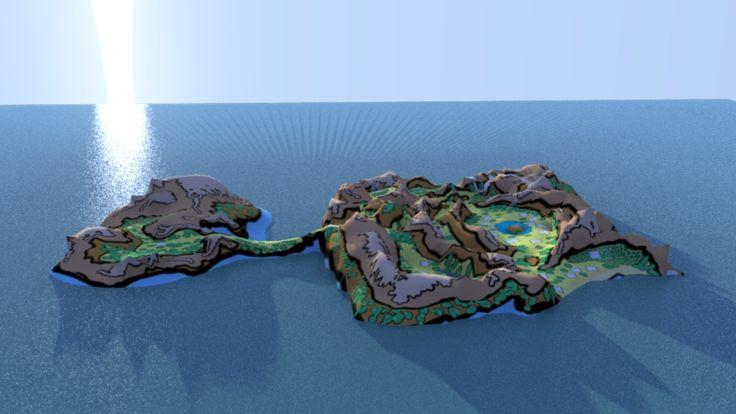 Escultura con Mudbox 2015, Iluminación en Maya 2015. Mapa de Concept Art para la asignatura de Videojuegos.