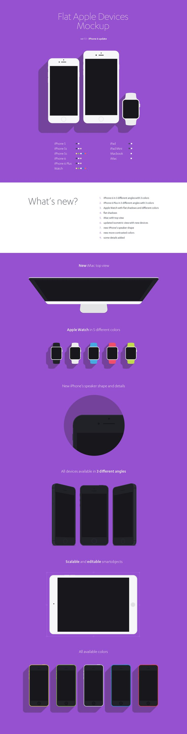 Free Download : Flat Apple Devices Mockup (iPhones, iPads, iMac and Macbook, Apple Watch)