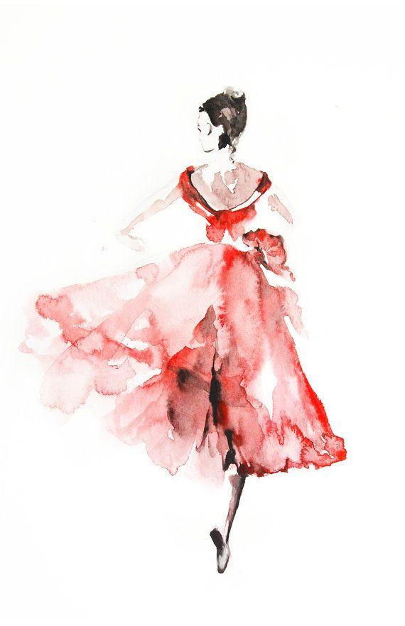 Ballerina in Pink, Watercolor Painting Art Print, Ballet ...