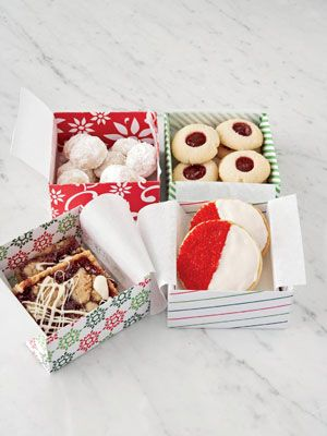 One tasty recipe yields four very different kinds of Christmas cookies: Roly Polys, Jam Thumbprints, Red-and-Whites, and Raspberry Bars. Each batch in this package is a little different to satisfy all the right sweet spots.