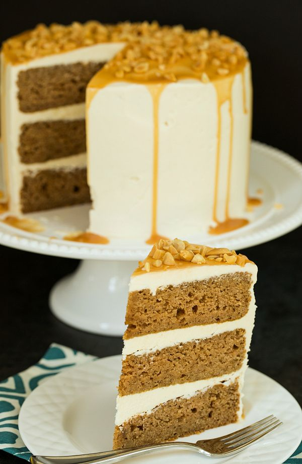 made with applesauce, not apples--- Salted Caramel Apple Cake | browneyedbaker.com #recipe #dessert