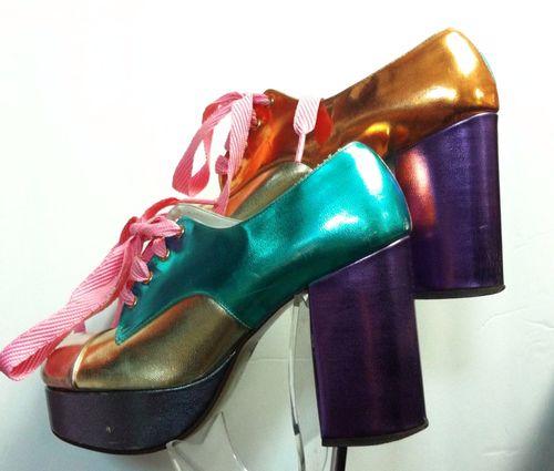 1970s Metallic Platforms shoes oxford lace up blue green gold purple heels pumps vintage