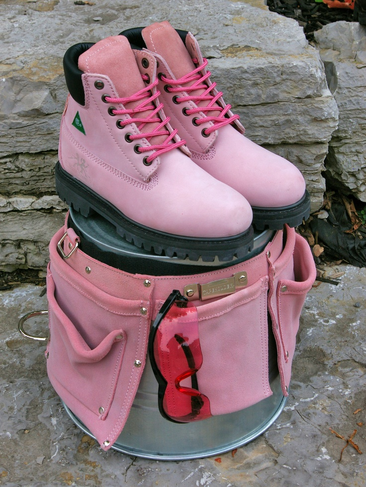 Pink work boots, tool belt and safety glasses