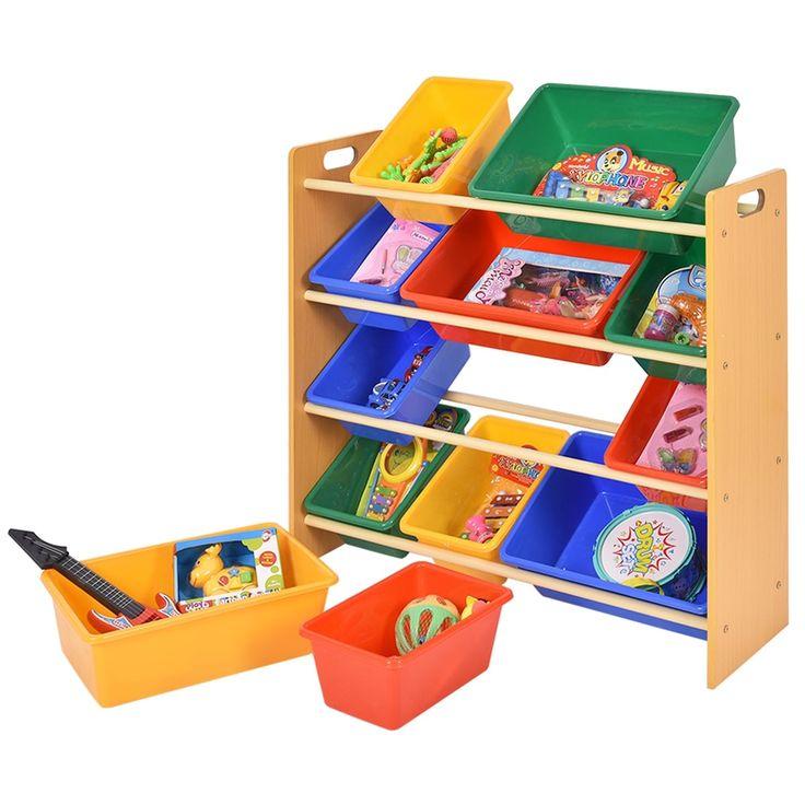 Costway Toy Bin Organizer Kids Childrens Storage Box Playroom Bedroom Shelf Drawer