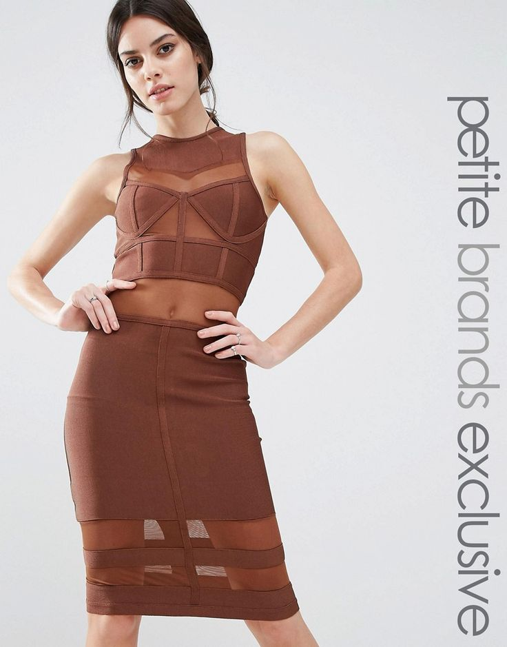 True Decadence Petite Bandage Midi Dress With Mesh Inserts - Brown
