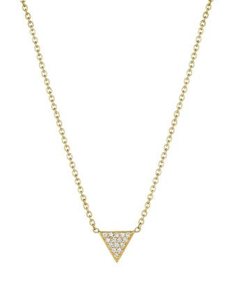 18k+Yellow+Gold+Petite+Pave+Diamond+Triangle+Pendant+Necklace+by+Penny+Preville+at+Neiman+Marcus+Last+Call.