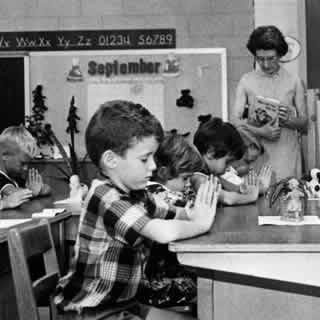 Early boomers had Prayer in school.  On June 25, 1962, the Supreme Court decided in Engel v. Vitale that a prayer approved by the New York Board of Regents for use in schools violated the First Amendment by constituting an establishment of religion. And the country has gone to hell in a hand basket since - literally.