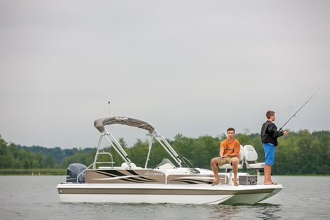 Fish and Cruise Pontoon Boat from Hurricane Boats.  I like this company because the boat has a fiberglass haul like a speed boat instead of pontoons.