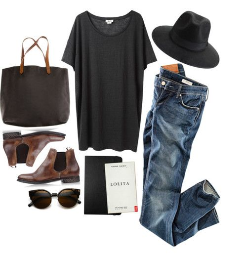 When I Leave / James Vincent Mcmorrow por rebeccarobert con brown ankle boots ❤ liked on Polyvore Acne Studios oversized tee / H&M jeans / N.d.c. brown ankle boots, $390 / Madewell black leather tote...