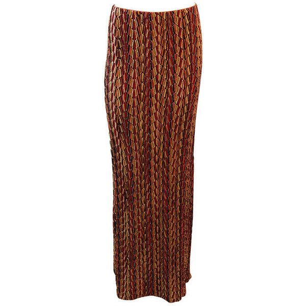 Pre-owned Missoni Multi Colored Metallic Maxi Skirt (51.865 RUB) ❤ liked on Polyvore featuring skirts, brown, metallic maxi skirt, long patterned skirt, multi color maxi skirt, brown maxi skirt and multi colored maxi skirt