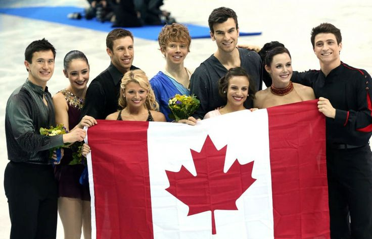 Canada celebrates their silver medal in Team Figure Skating event during the Sochi 2014 Olympic Games, February 9, 2014.