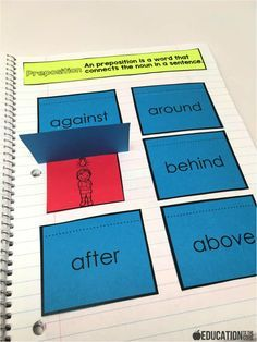With this prepositions activity, I have the kids paste the definition of a preposition in the notebook.  Then they paste the flip flaps onto the page as they read them.  After that, I have them place the correct picture under  With this prepositions activity, I have the kids paste the definition of a preposition in the notebook.  Then they paste the flip flaps onto the page as they read them.  After that, I have them place the correct picture under each word.