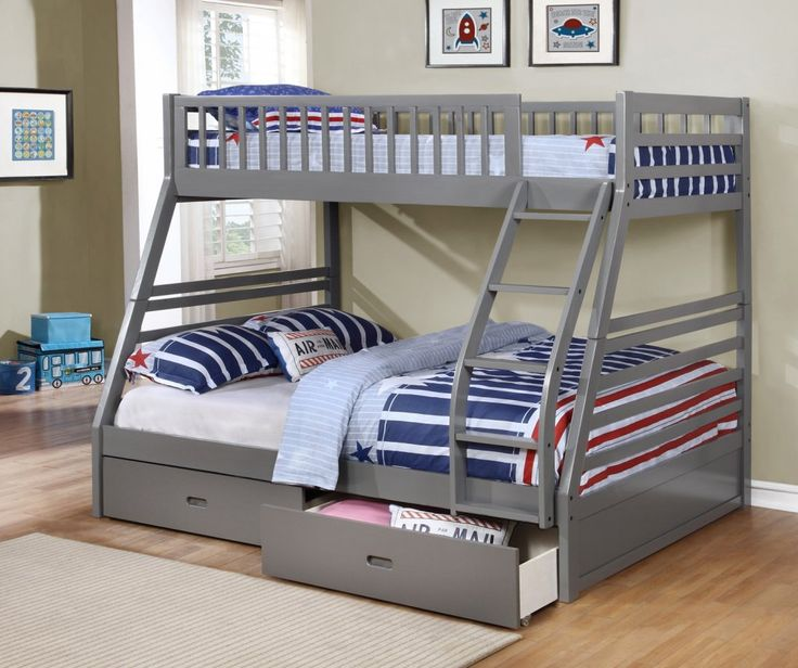 Fraser iii grey twin over full bunk bed with storage for Wood twin bed with storage
