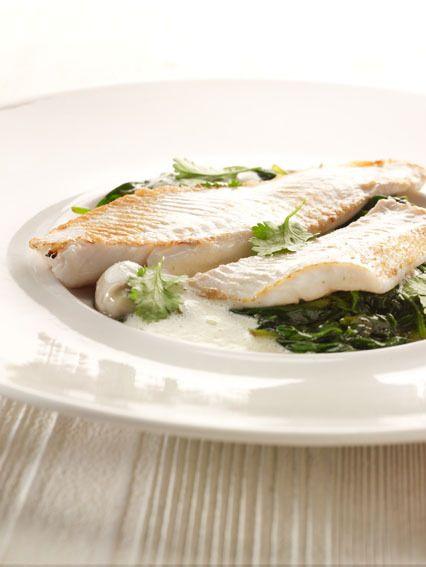 Pladijs, gefileerd en gebakken, spinazie met specerijen en room, oestersaus