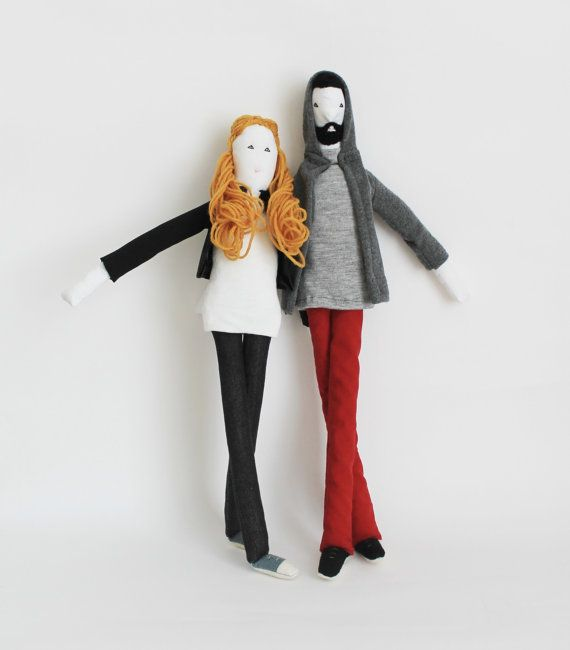 Handmade couple art dolls personalized portrait dolls by FulBelSic