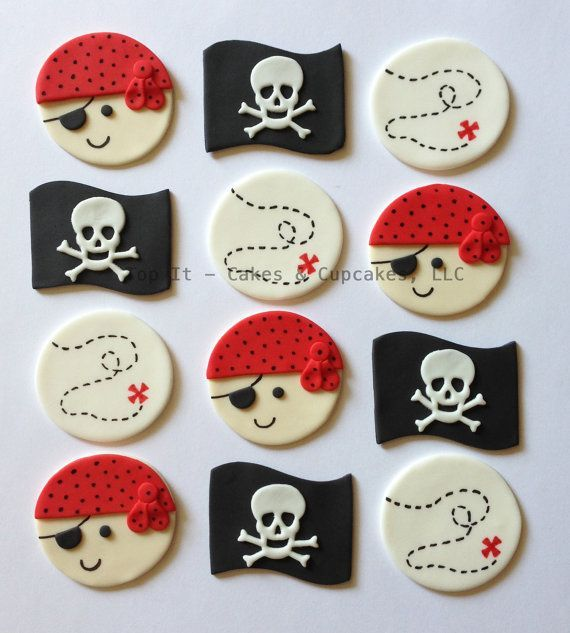 Fondant Cupcake Toppers  piratas II por TopItCupcakes en Etsy
